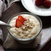bowl of yogurt with strawberries